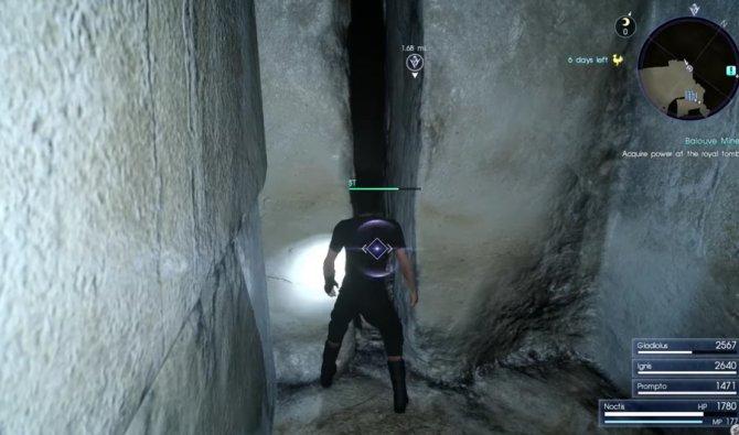 Маленькая щель ,через которую Ноктис должен протиснуться к королевской гробнице.