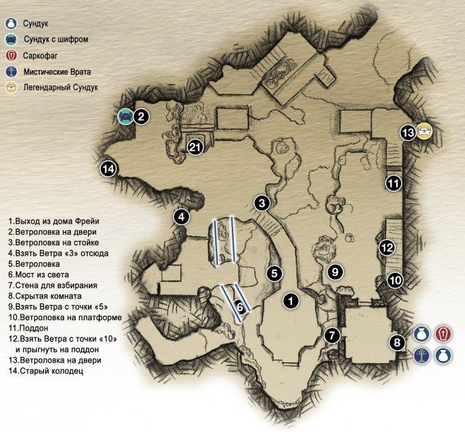 Прохождение God of War – Глава 10: Пещера Фрейи, Священная Роща и Хельхейм (карта пещеры Фрейи)
