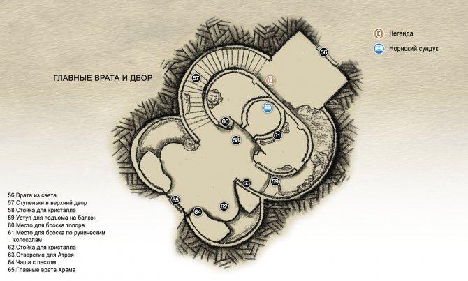 Прохождение God of War – Глава 4: Свет Альвхейма (карта главных врат и двора Храма)